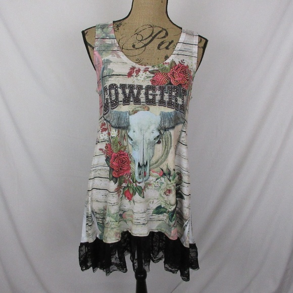 Liberty Wear Dresses & Skirts - Cowgirl Dress Roses Rhinestones Horns Sleeveless